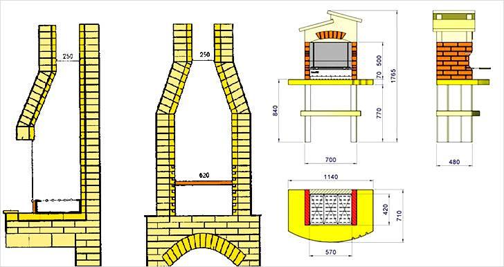 Схема кладки дымоходной части