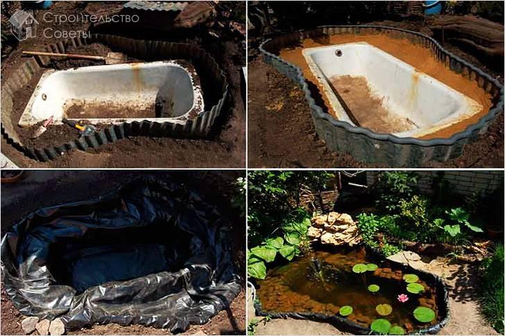 Строительство пруда из ванны