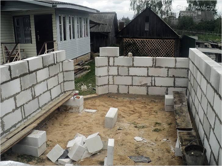 Процесс возведения стен