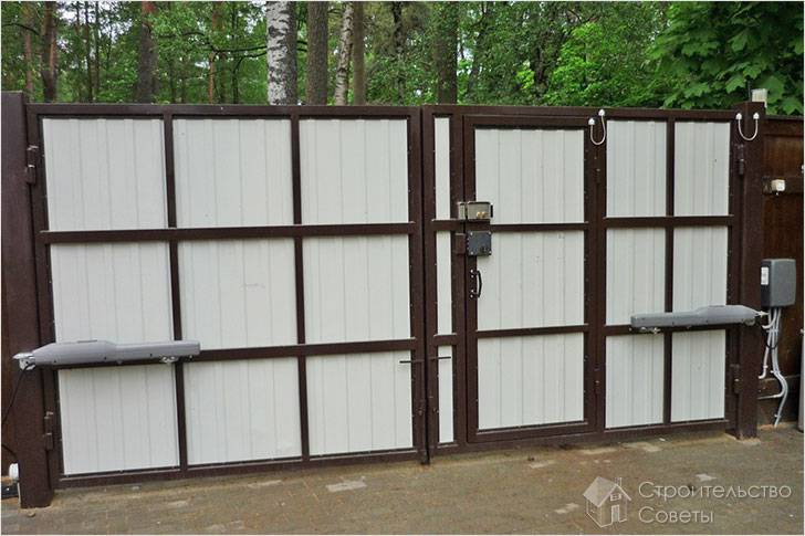Автоматические ворота из профлиста