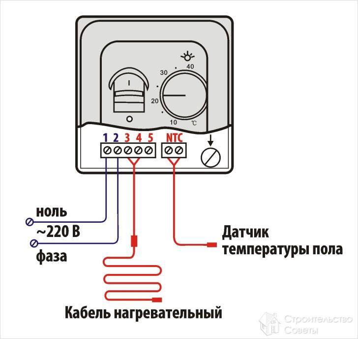 Схема подключения пола к терморегулятору