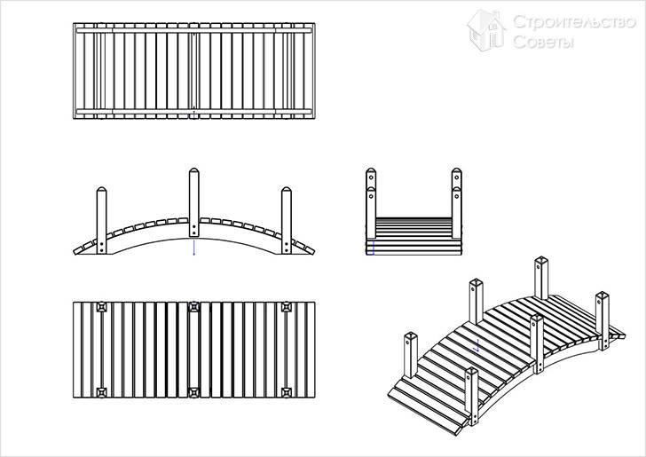 Схема садового мостика