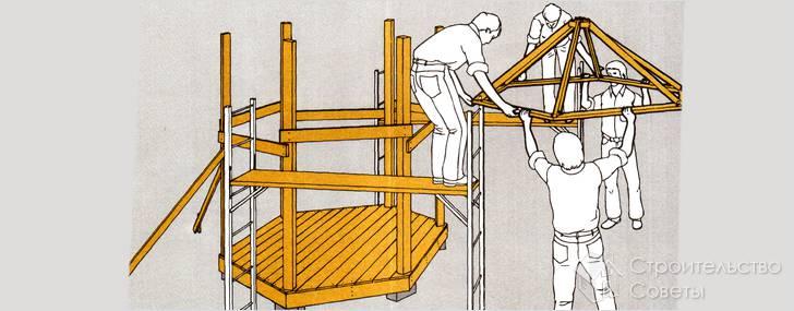 Как сделать крышу на шестигранную беседку своими руками