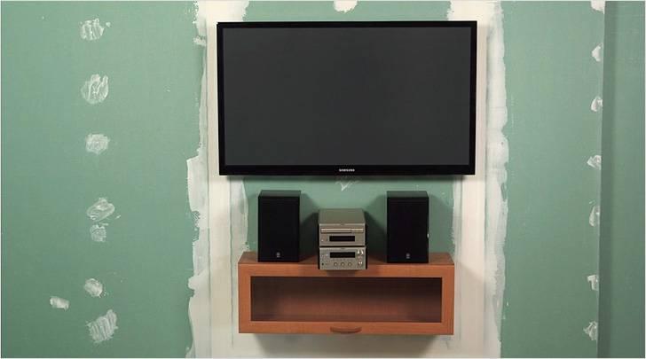Как повесить картину, полку и телевизор на гипсокартон