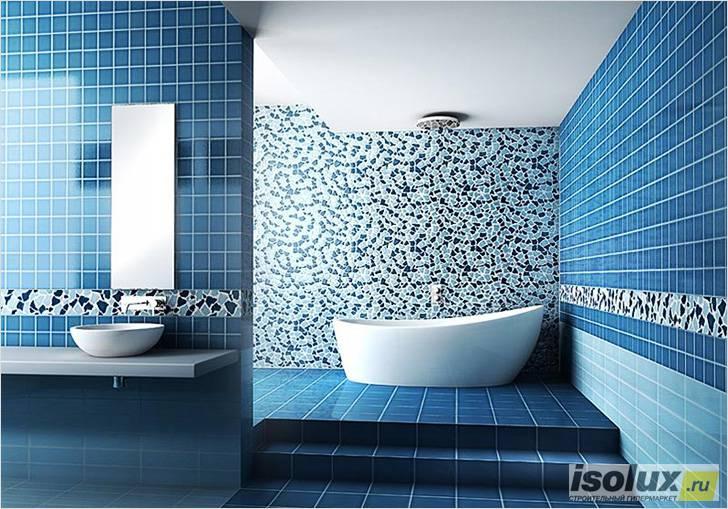 Ванная комната, отделанная плиткой и керамогранитом