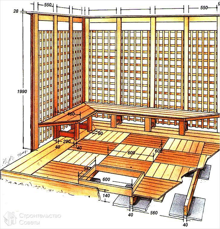 Чертеж деревянной террасы