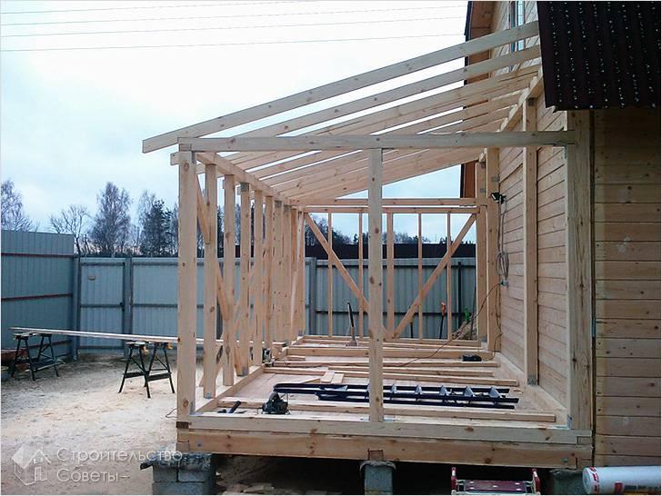 Пристройка террасы к дому из дерева