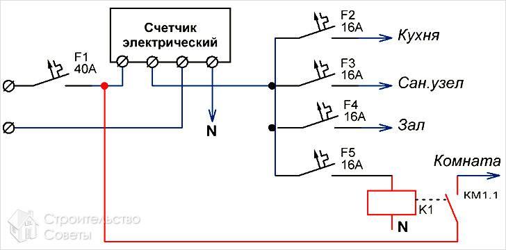 Схема подсоединения с левым отводом