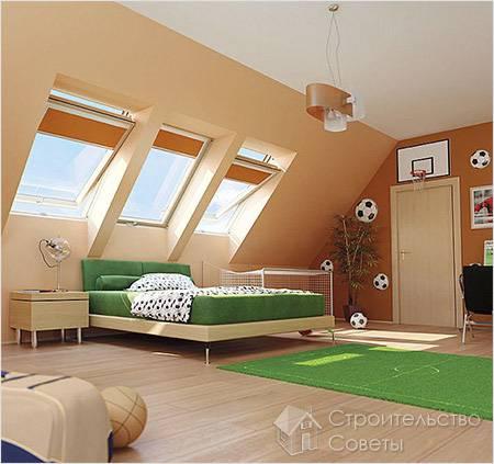 Детская комната в мансарде дома