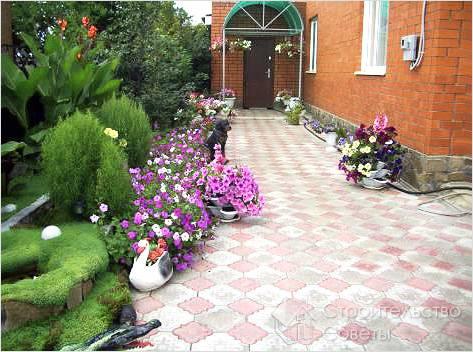 Цветники возле дорожки