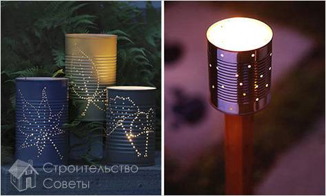 Самодельные фонари из консервных банок