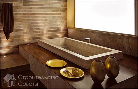 Прямоугольная деревянная ванна