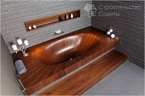 Ванна из дерева в интерьере