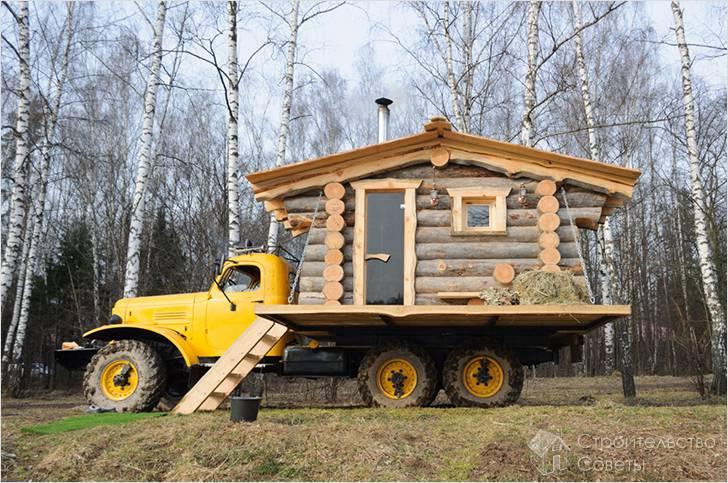 Баня на колесах - способы реализации и строительство своими руками